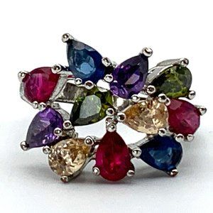 Jewelry - Colorful Cluster Ring, Teardrop Rainbow Statement